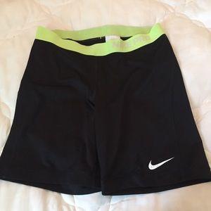 "Nike Pro Compression Shorts Black Lime waist L 7"""